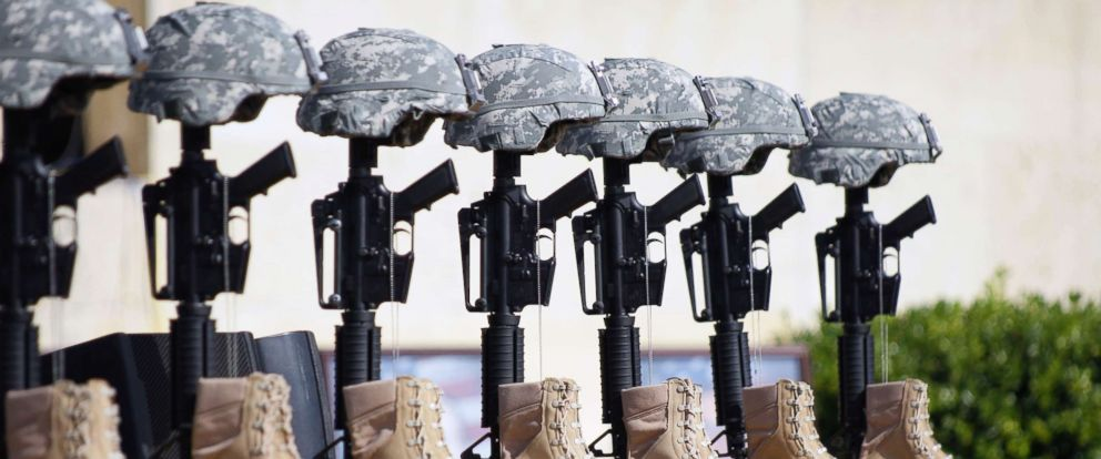 PHOTO: A memorial to victims of the Fort Hood shooting is shown before the start of a memorial service attended by President Barack Obama, Nov. 10, 2009, at Fort Hood, Texas.