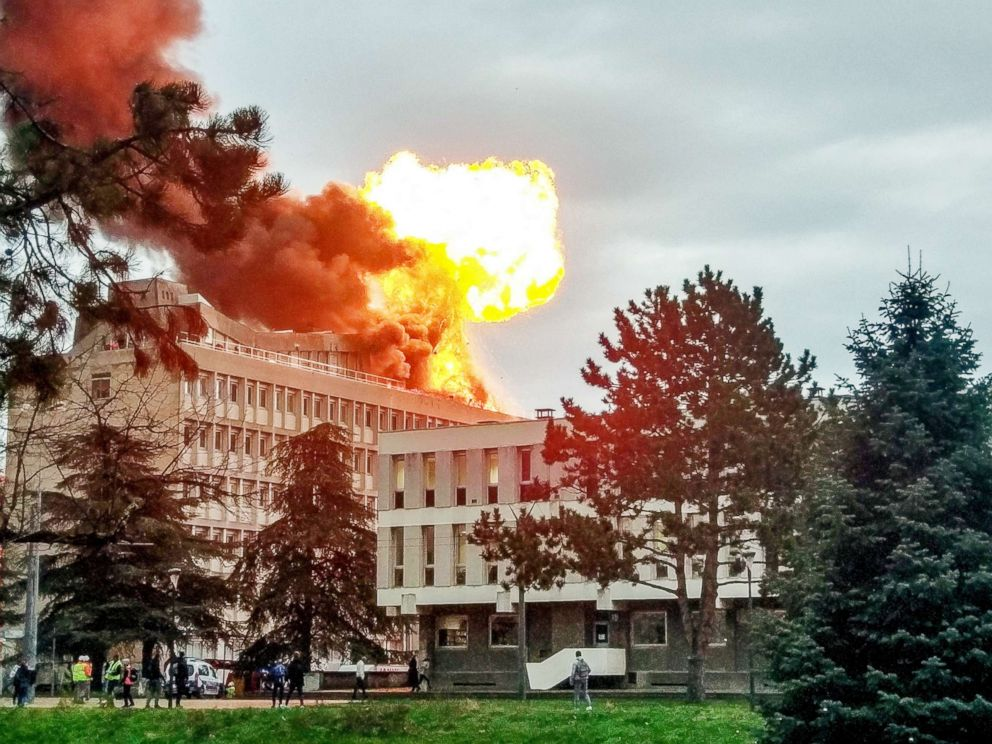 PHOTO: This picture taken on Jan. 17, 2019, in Villeurbanne near Lyon, France, shows an explosion on a rooftop of La Doua University Campus.