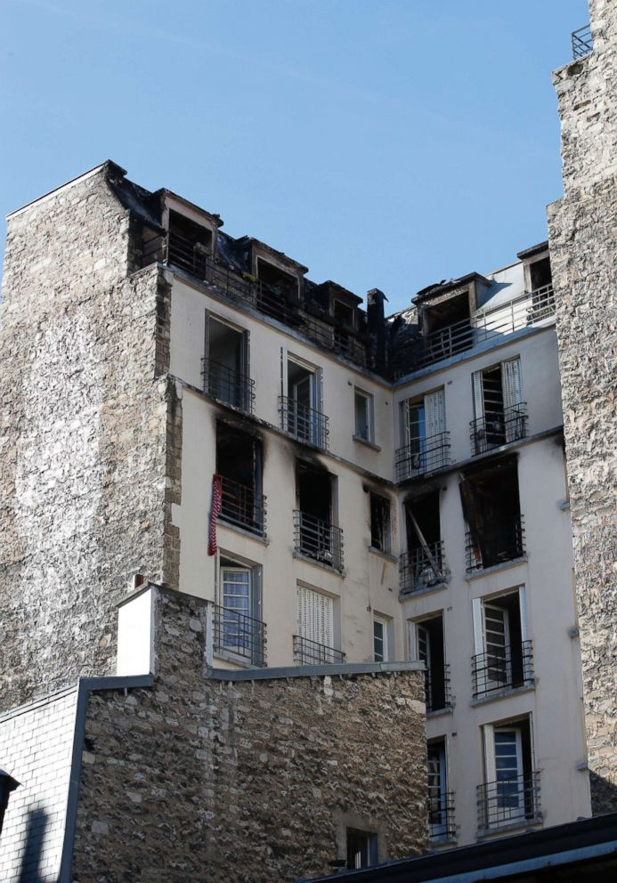 PHOTO: A view of the apartment building after a fire broke, Feb. 5, 2019, in Paris.