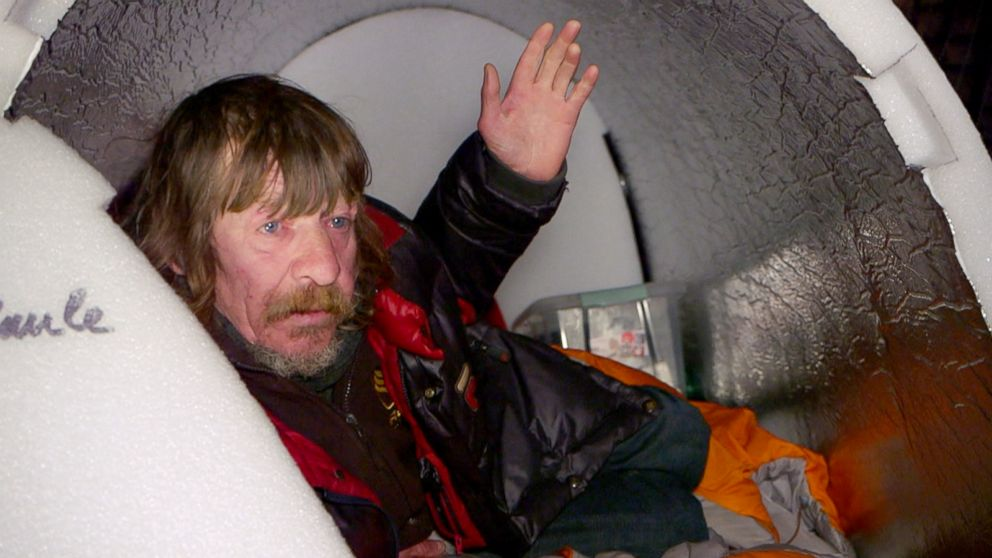 PHOTO: Homeless people in Paris are experimenting with a new type of waterproof shelter that remains hot in freezing temperatures. A homeless man named Christian, 58 years old, shown inside the igloo.