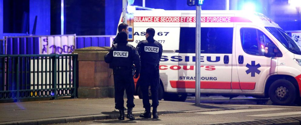 PHOTO: Police secure a street and the surrounding area after a shooting in Strasbourg, France, Dec. 11, 2018.