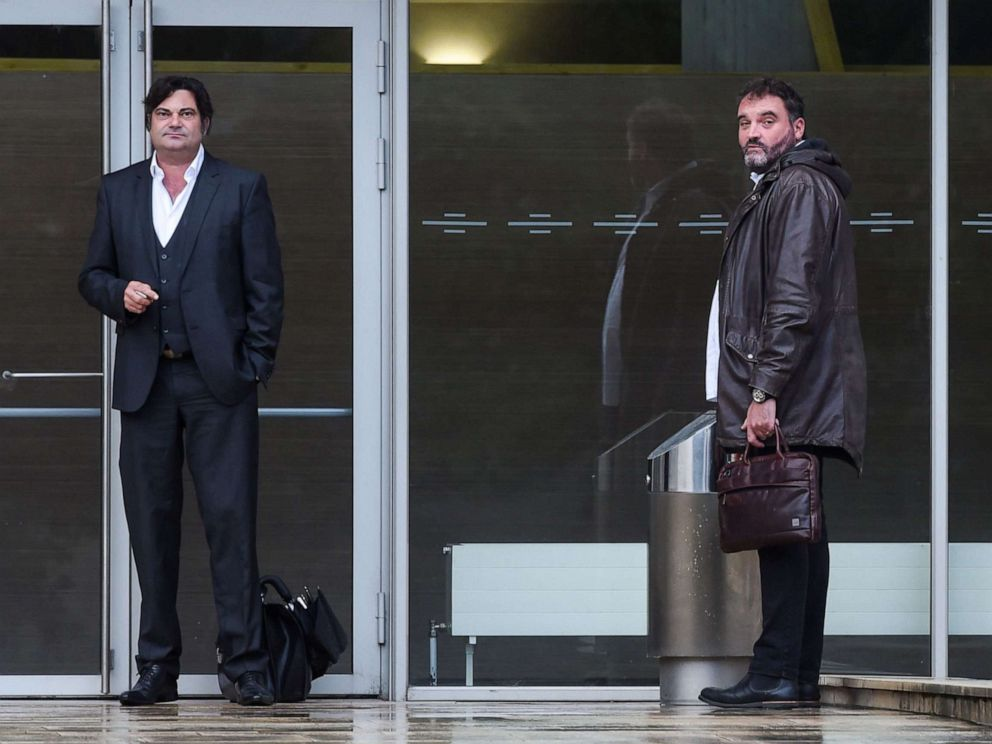 PHOTO: Frederic Pechier, right and his lawyer Randall Schwerdorffer, left, stand outside the Besancon courthouse in Paris on June 12, 2019.