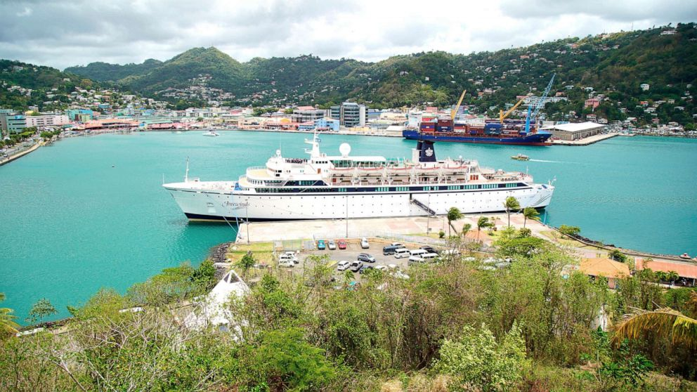PHOTO: The Freewinds cruise ship is docked in the port of Castries, the capital of St. Lucia, Thursday, May 2, 2019.