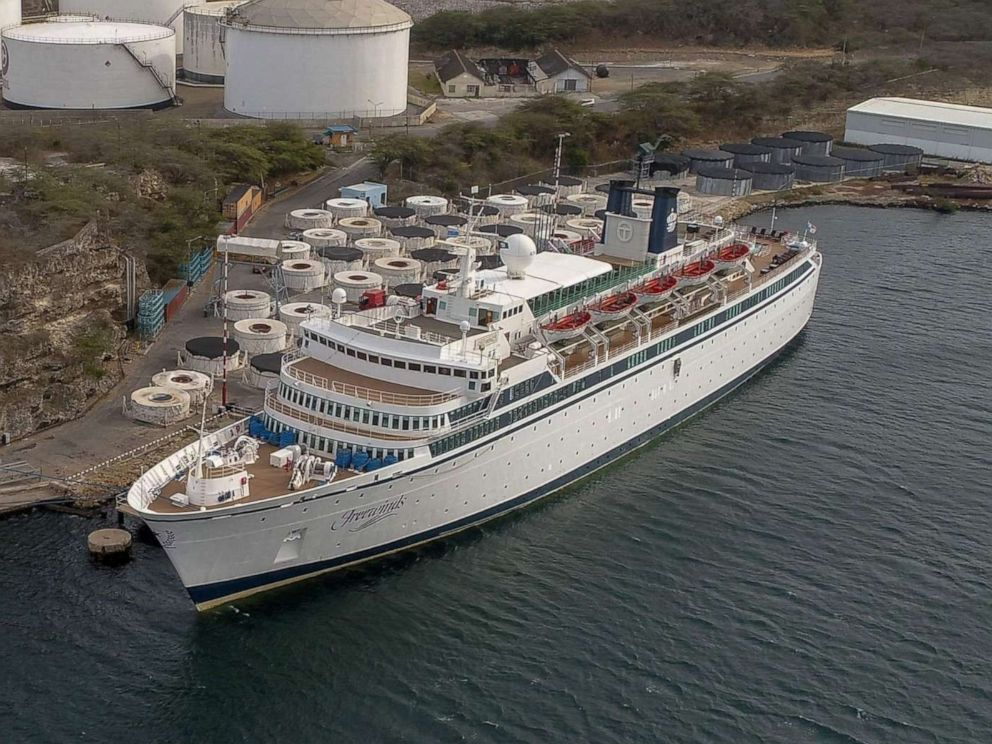 PHOTO: Aerial view of the Freewinds cruise ship, anchored in Willemstad, Curacao, on May 4, 2019.