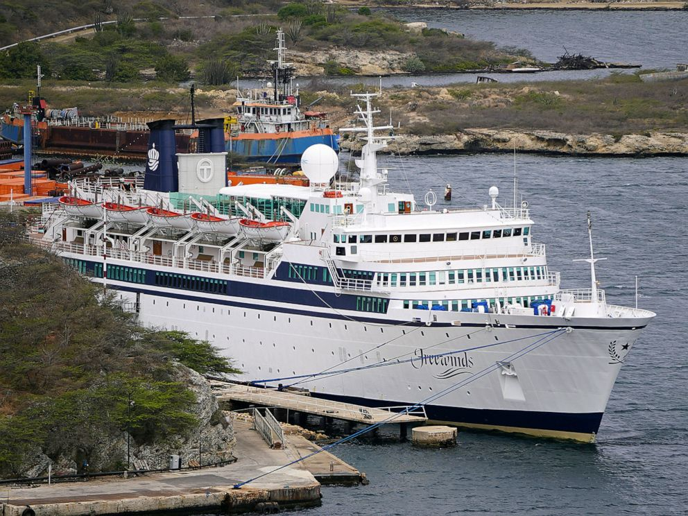 PHOTO: A 440-foot ship owned and operated by the Church of Scientology, SMV Freewinds, is docked under quarantine from a measles outbreak in port in Willemstad, Curacao, May 4, 2019.