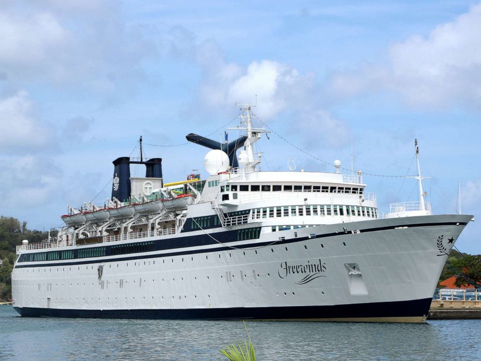 PHOTO: A 440-foot ship owned and operated by the Church of Scientology, SMV Freewinds, is docked under quarantine from a measles outbreak in a port near Castries, St. Lucia, May 2, 2019.