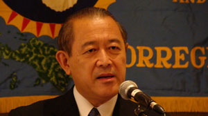 Japanese Ambassador to the United States Ichiro Fujisaki delivers an official apology to the last 73 U.S. survivors of the Bataan Death March at a meeting of the survivors group May 30, 2009, in San Antonio.