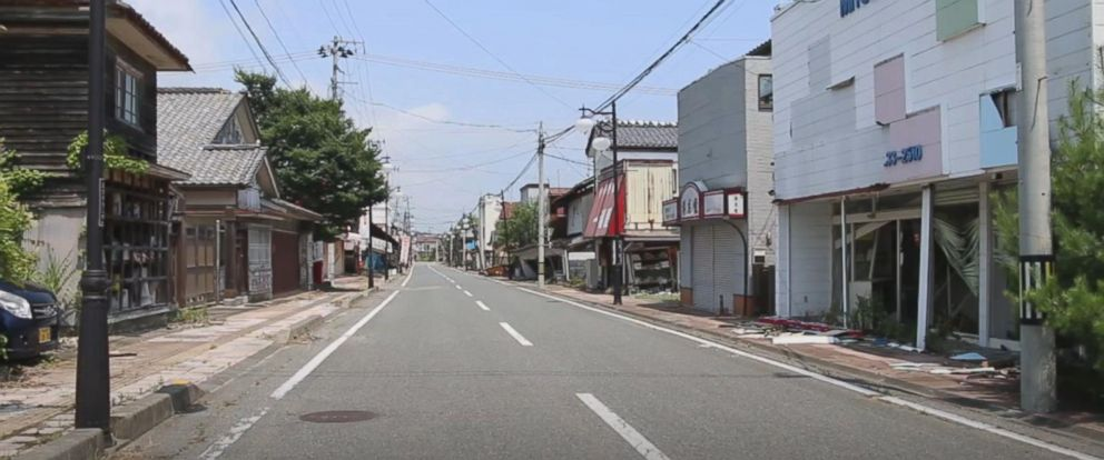 """PHOTO: A Japanese town named Futaba is still mostly considered a so-called """"difficult-to-return zone"""" following the nuclear crisis seven years ago."""