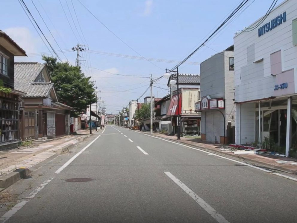 PHOTO: A Japanese town named Futaba is still mostly considered a so-called difficult-to-return zone following the nuclear crisis seven years ago.