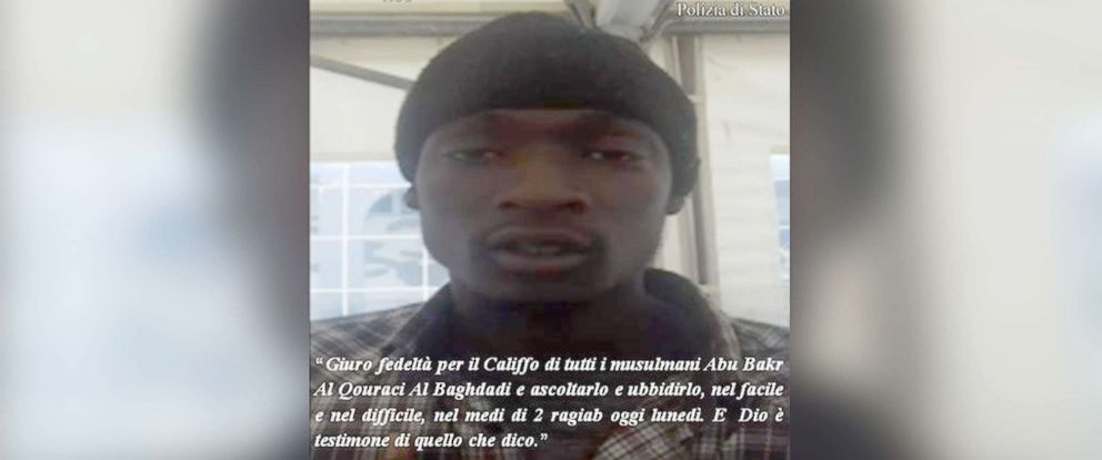 PHOTO: Asylum-seeker Alagie Touray, 21, was arrested in southern Italy on April 20, 2018, Italian authorities said.
