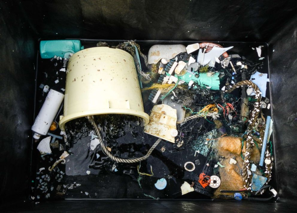 PHOTO: A garbage sample is pulled out of the ocean at the Great Pacific Garbage Patch (GPGP), located between halfway between Hawaii and California, in a photo provided by The Ocean Cleanup on March 23, 2018.