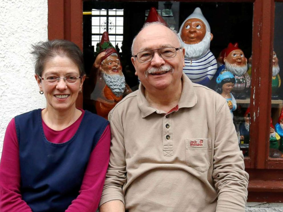 PHOTO: Reinhard Griebel and Iris Umbreit are pictured at Garden Gnome Manufactory Philipp Griebel, in Graefenroda near Erfurt, Germany, March 5, 2019.
