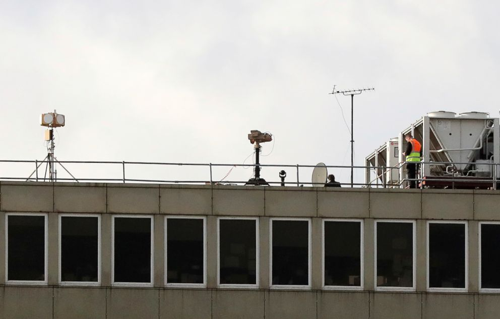PHOTO: Counter drone equipment deployed on a rooftop at Gatwick airport as the airport and airlines work to clear the backlog of flights delayed by a drone incident earlier in the week, in Crawley, England, Dec. 22, 2018.