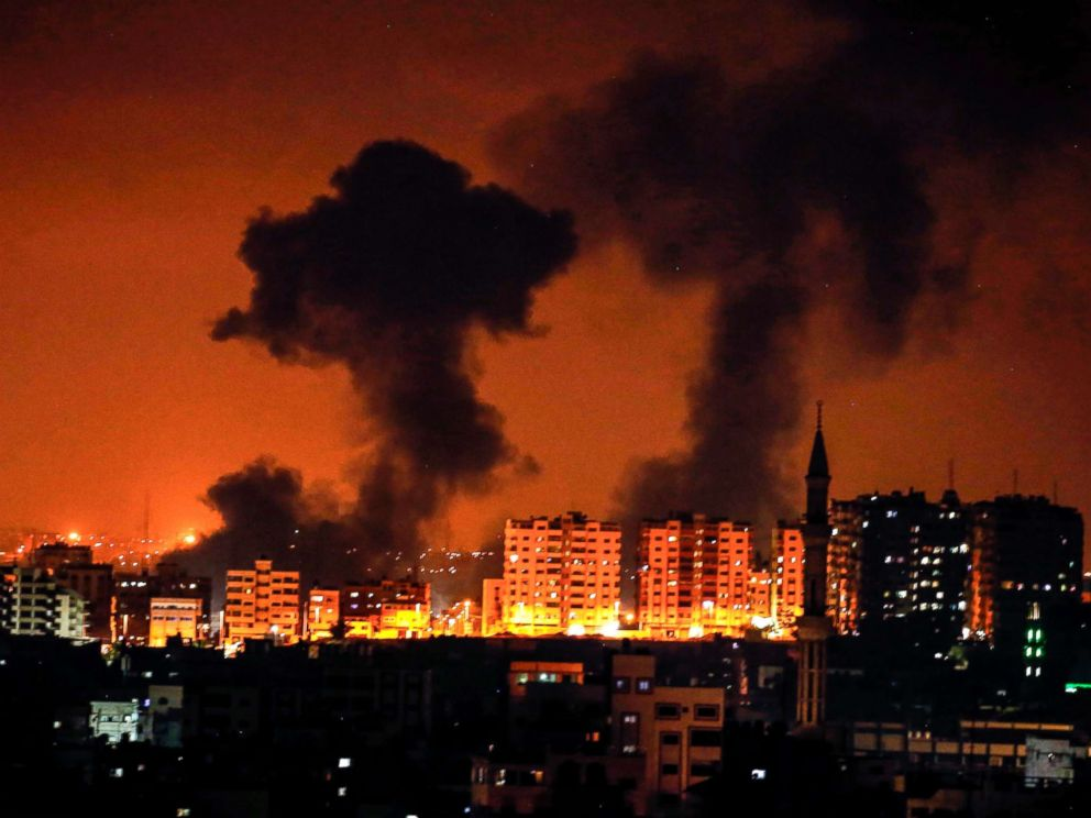 Mahmud Hams  AFP  Getty Images Smoke plumes rise following an Israeli air strike on Gaza City Aug. 8 2018
