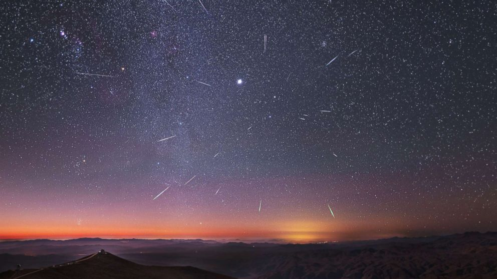 The radiant Geminid meteor shower over the Carnegie Las Campanas observatory, south of Atacama desert, Chile. Dec. 14, 2013, taken using a long exposure. The brightest object close to center is Jupiter and Milky Way can be seen running vertically at left.