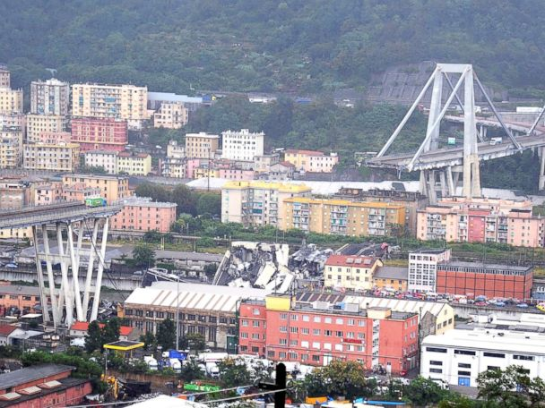 At least 20 dead when section of massive bridge collapses in Italy