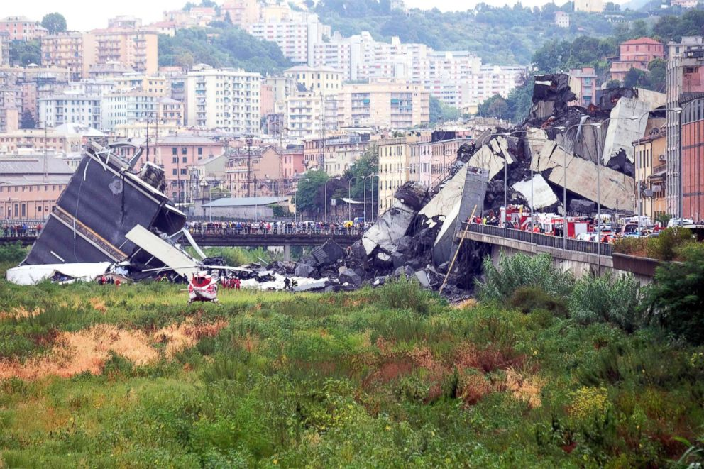 PHOTO: A picture taken on Aug. 14, 2018, in Genoa, Italy, shows a section of a giant motorway bridge that collapsed earlier injuring several people.