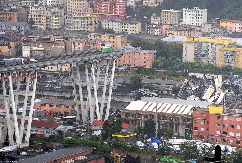 PHOTO: The collapsed Morandi Bridge is seen in the Italian port city of Genoa, Aug. 14, 2018.