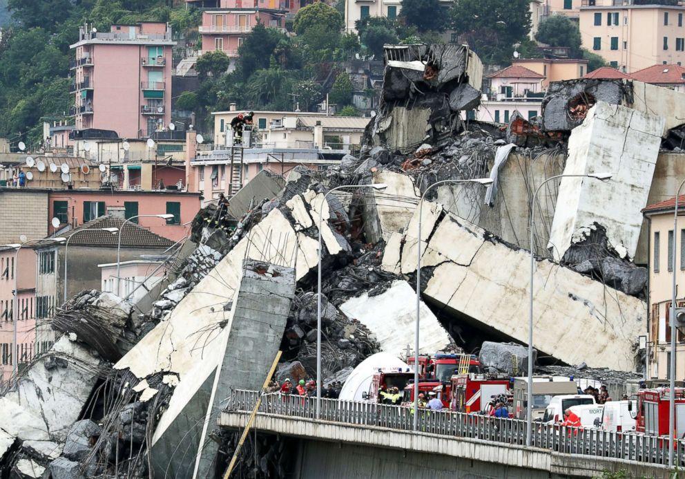 PHOTO: The collapsed Morandi Bridge is seen in the Italian port city of Genoa, Italy, Aug. 14, 2018.