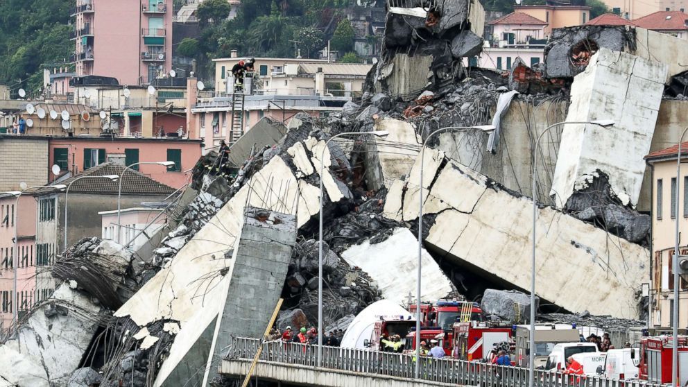 Death toll rising in Italy bridge collapse amid desperate search for