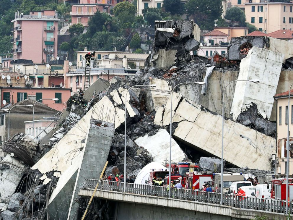 Death toll rising in Italy bridge collapse amid desperate search for survivors