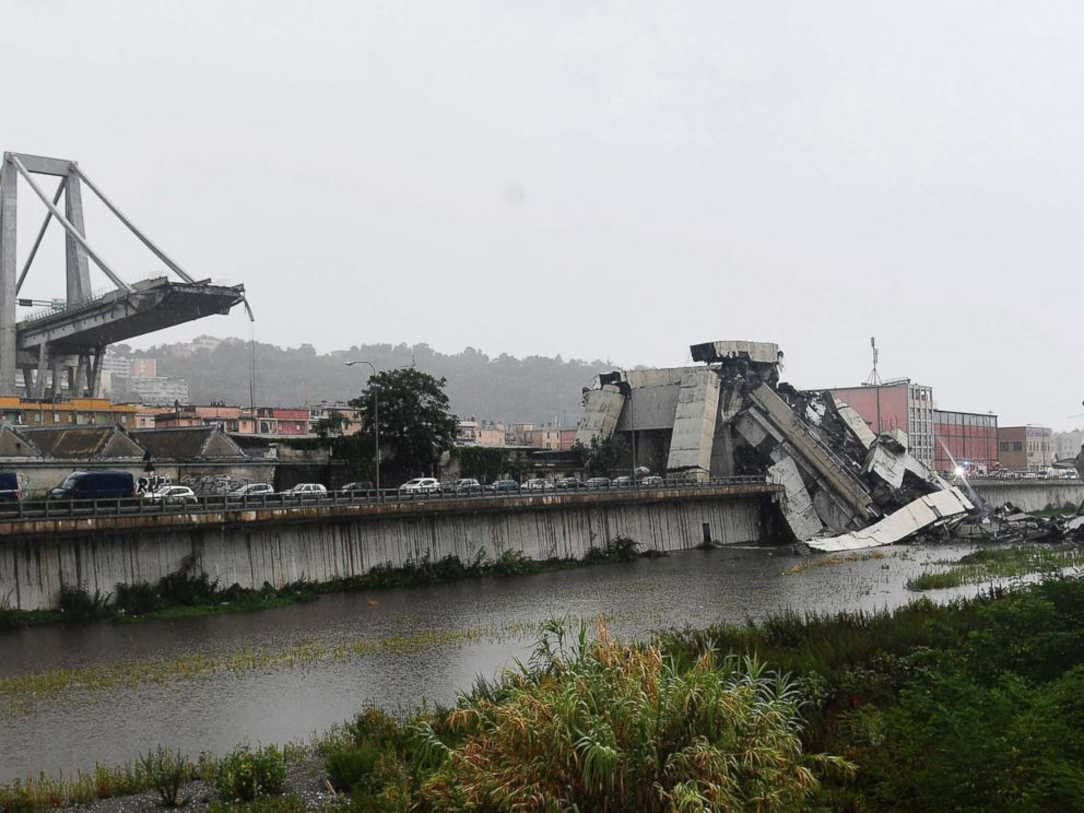 PHOTO: A view of the collapsed Morandi highway bridge in Genoa, Italy, Aug. 14, 2018.