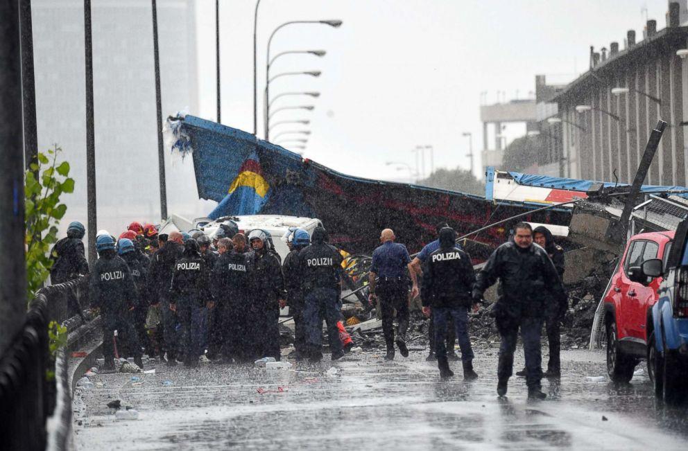 PHOTO: A bridge collapses in Genoa, Italy, Aug. 14, 2018.