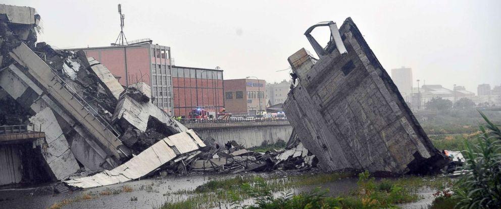 PHOTO: A bridge collapsed in Genoa, Italy, Aug. 14, 2018.