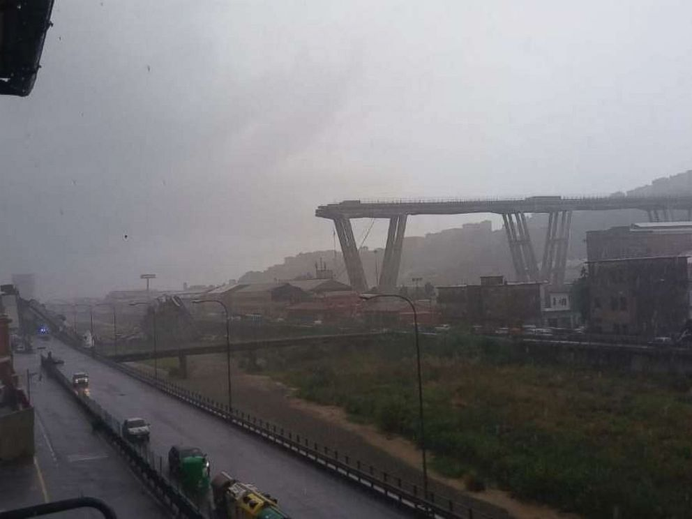 A large section of a bridge collapsed in stormy weather in Genoa, Italy, on Tuesday, Aug. 14, 2018.
