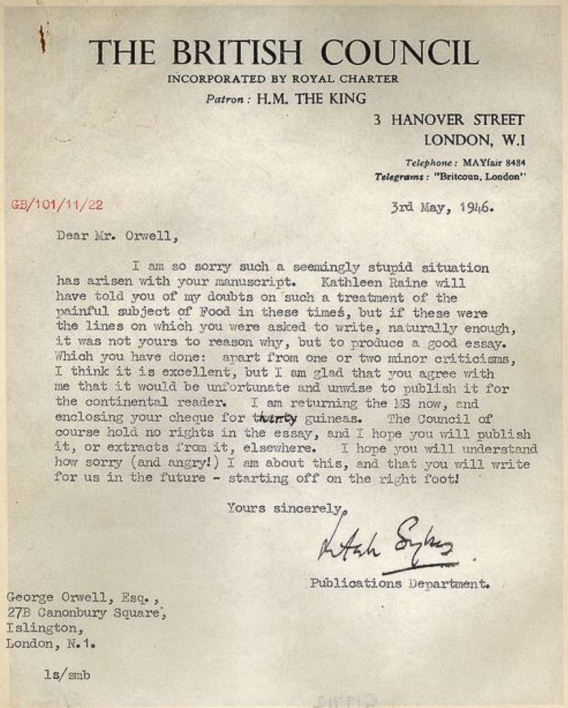 PHOTO: The British Council released the original apology letter sent to Orwell in 1946.