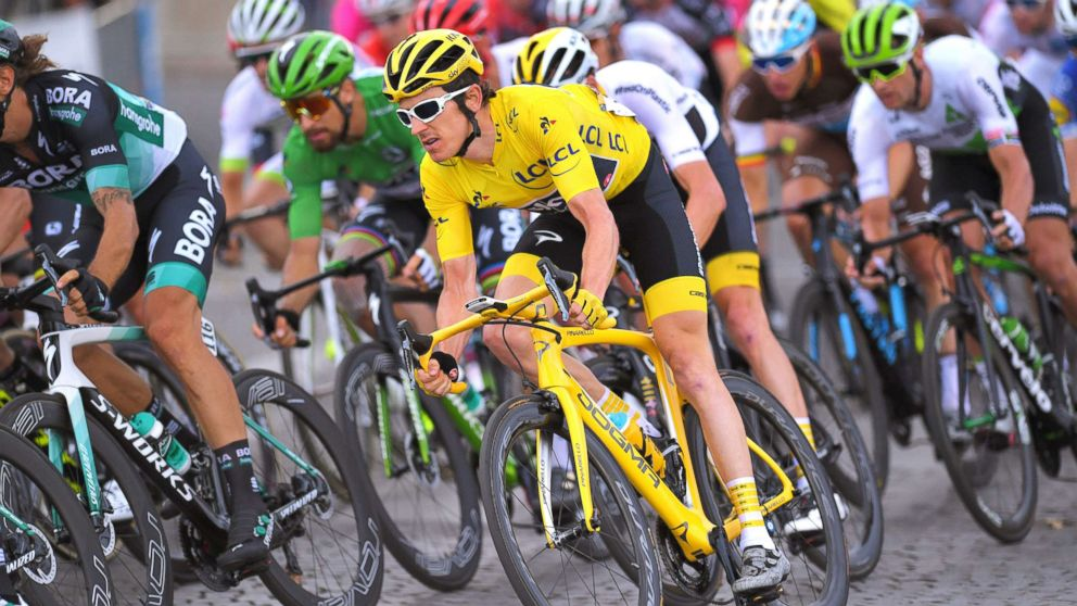 Geraint Thomas of Great Britain and Team Sky during the 105th Tour de France 2018, Stage 21 a mile 72 stage from Houilles to Paris Champs-Elysees, July 29, 2018, in Paris.