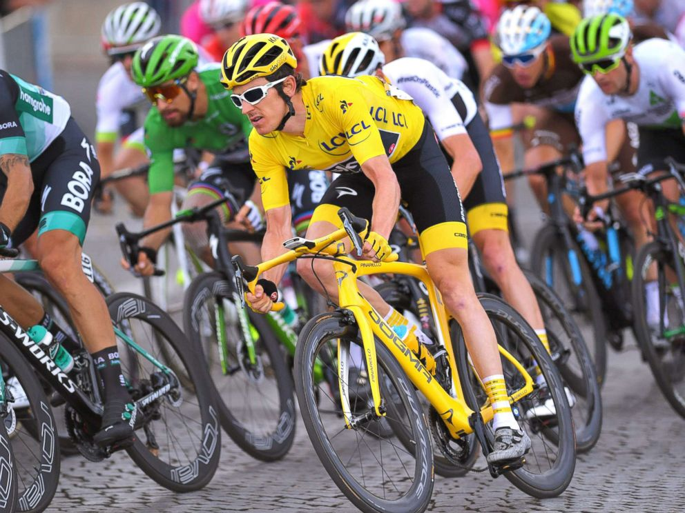 PHOTO: Geraint Thomas of Great Britain and Team Sky during the 105th Tour de France 2018, Stage 21 a mile 72 stage from Houilles to Paris Champs-Elysees, July 29, 2018, in Paris.