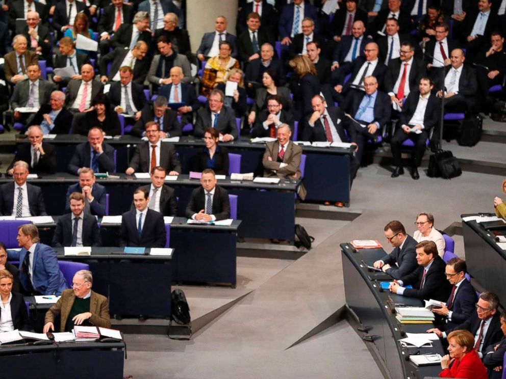 PHOTO: German Chancellor Angela Merkel sits in parliament during a session at the Bundestag lower house of Parliament, on Nov. 21, 2017 in Berlin.