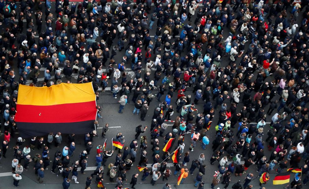 PHOTO: People take part in demonstrations following the killing of a German man in Chemnitz, Germany, Sept. 1, 2018.