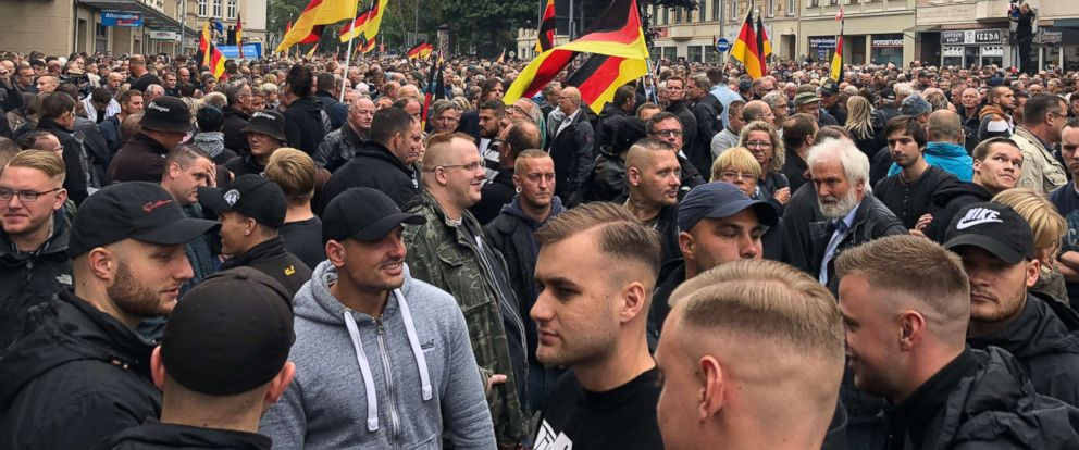 PHOTO: Members of right-wing extremist groups gather for a demonstration on Sept. 1, 2018, in Chemnitz, Germany.