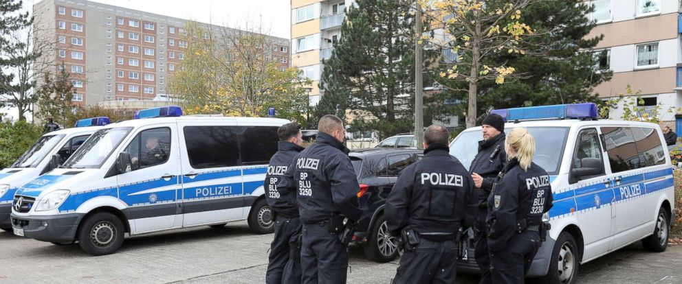 PHOTO: Police stand in front of a building in the northeastern German city of Schwerin, Oct. 31, 2017 after German authorities arrested a 19-year-old Syrian citizen there for allegedly planning a bomb attack.
