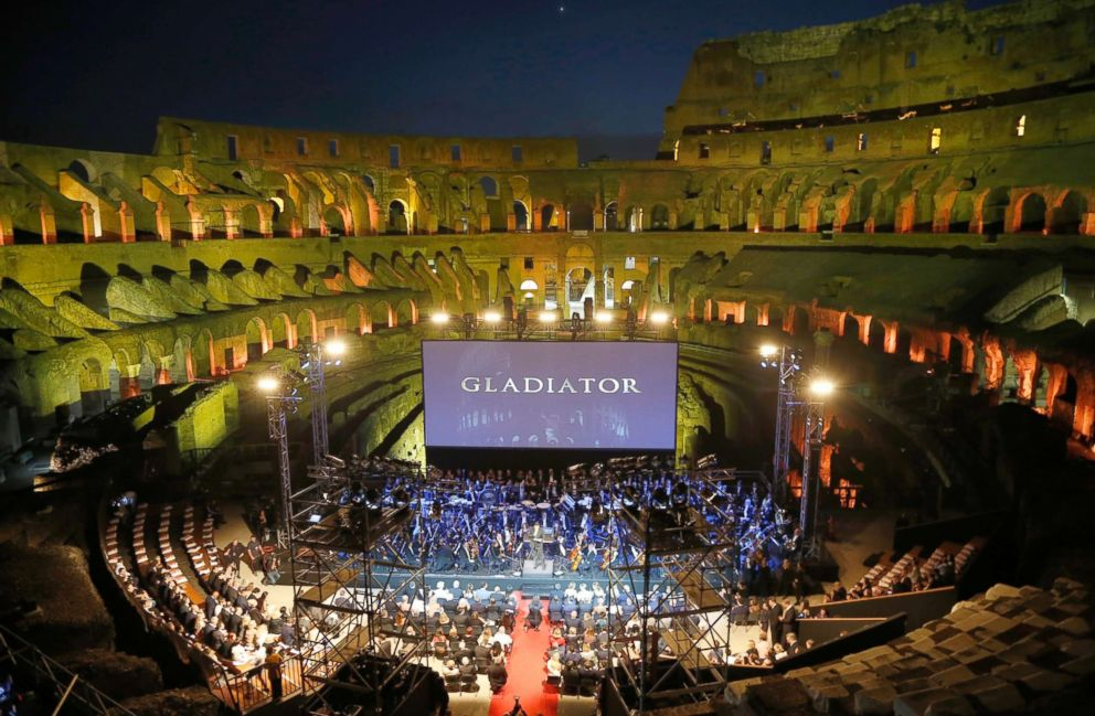PHOTO: A view of the stage set up inside the Colosseum ahead of the screening of Gladiator for a charity event in Rome, June 6, 2018.