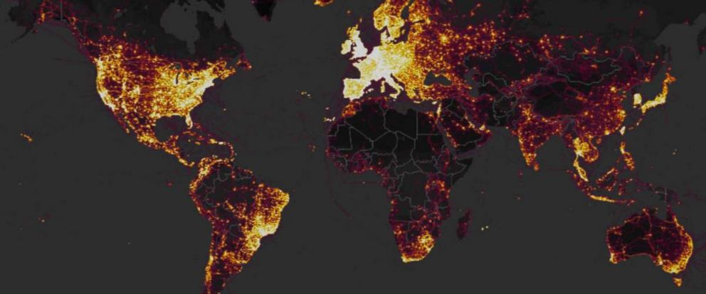 PHOTO: GPS tracking company Strava released an interactive map in November 2017 that showed where the users of fitness devices are around the world.