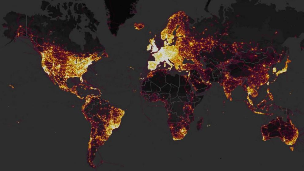 GPS tracking company Strava released an interactive map in November 2017 that showed where the users of fitness devices are around the world.
