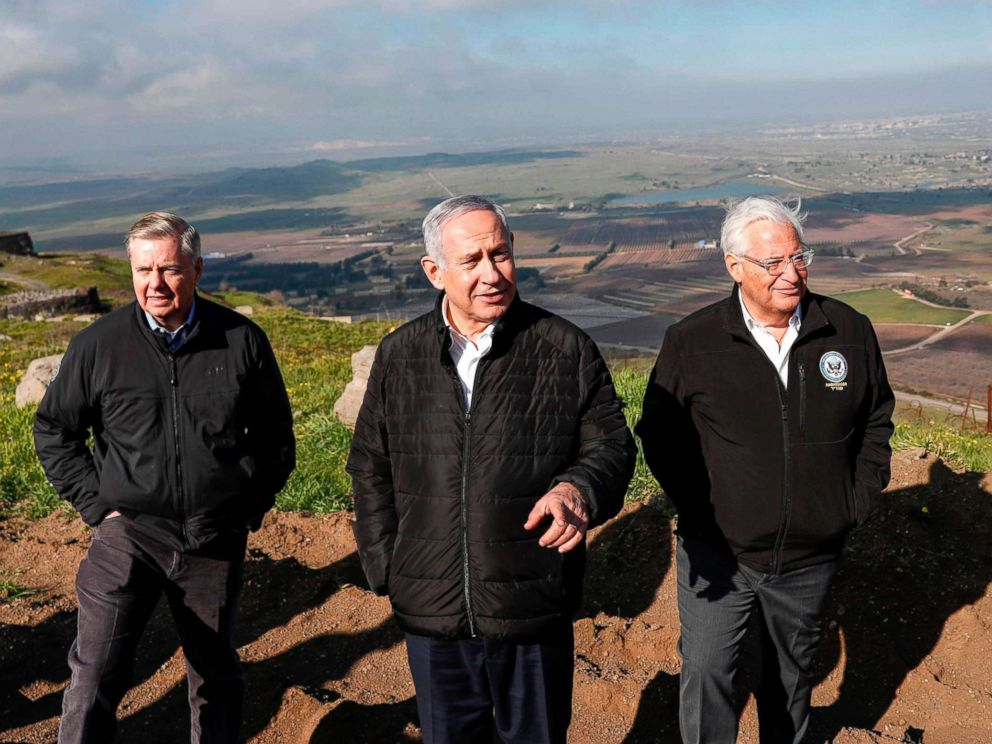 PHOTO: Sen. Lindsey Graham is accompanied by Israeli Prime minister Benjamin Netanyahu and U.S. Ambassador to Israel David Friedman as they visit the border line between Syria and the Israeli-annexed Golan Heights on March 11, 2019.