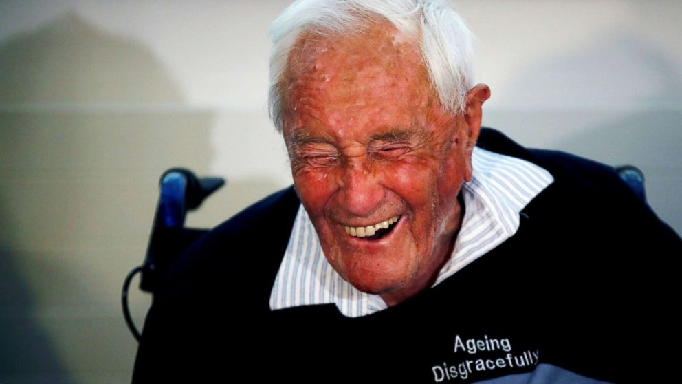David Goodall, 104, reacts during a news conference a day before he took his own life in an assisted suicide, in Basel, Switzerland on May 9, 2018.