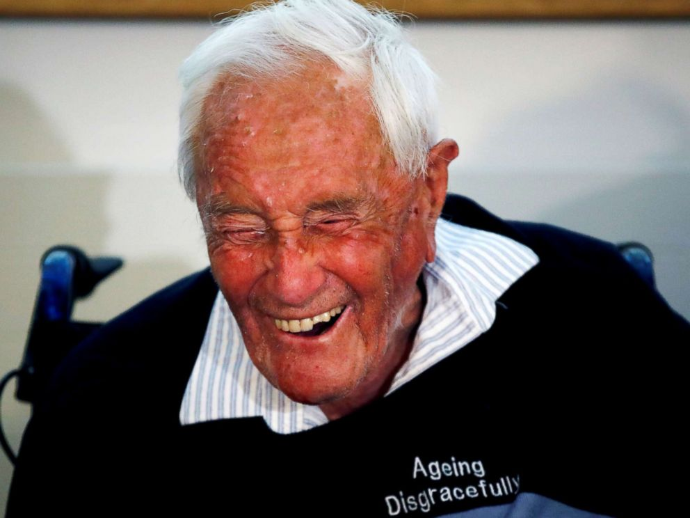 PHOTO: David Goodall, 104, reacts during a news conference a day before he took his own life in an assisted suicide, in Basel, Switzerland on May 9, 2018.