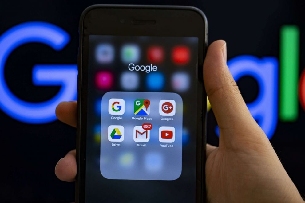 PHOTO: Google applications logos are seen on a screen in a stock photo.