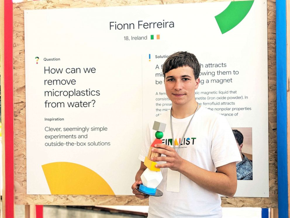 PHOTO: Irish teen Fionn Ferreira won the 50,000 dollar grand prize for the Google Science Fair for inventing a new method for extracting microplastics from water.
