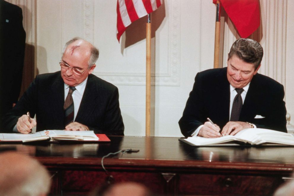 PHOTO: Mikhail Gorbachev and President Ronald Reagan sign the Intermediate-range Nuclear Forces (INF) agreement in the East Room of the White House, Dec. 8, 1987.