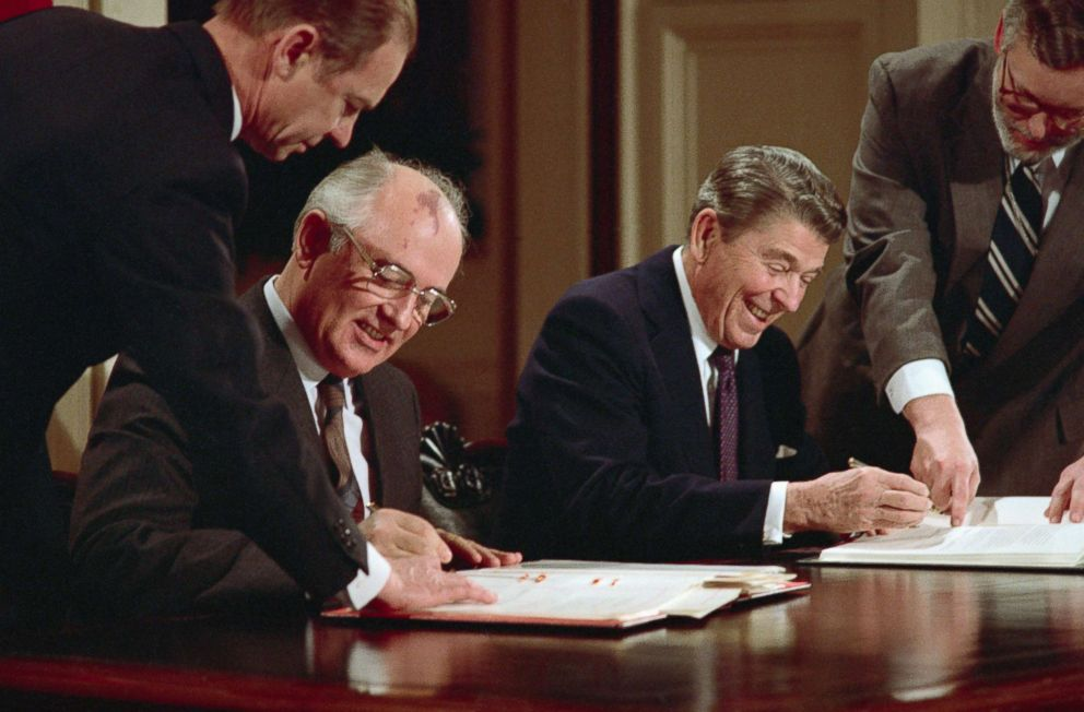 File photo of Soviet General Secretary Mikhail Gorbachev, left, and US President Ronald Reagan signing the Intermediate Nuclear Forces Reduction Treaty (INF Treaty), banning the use of intermediate-range nuclear missiles, Dec. 8, 1987, in Washington.
