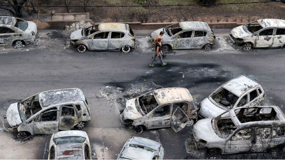 Dozens of cars destroyed by the blaze in the Mati area, Kokkino Limanaki  in Greece, July 24, 2018.