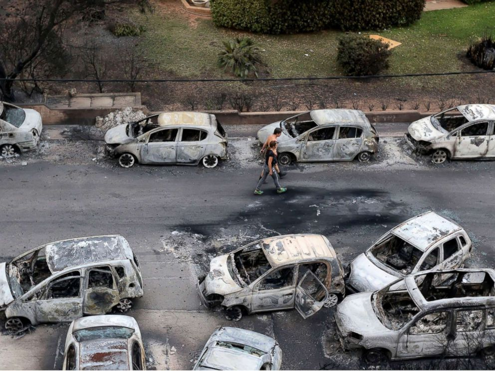 PHOTO: Dozens of cars destroyed by the blaze in the Mati area, Kokkino Limanaki in Greece, July 24, 2018.