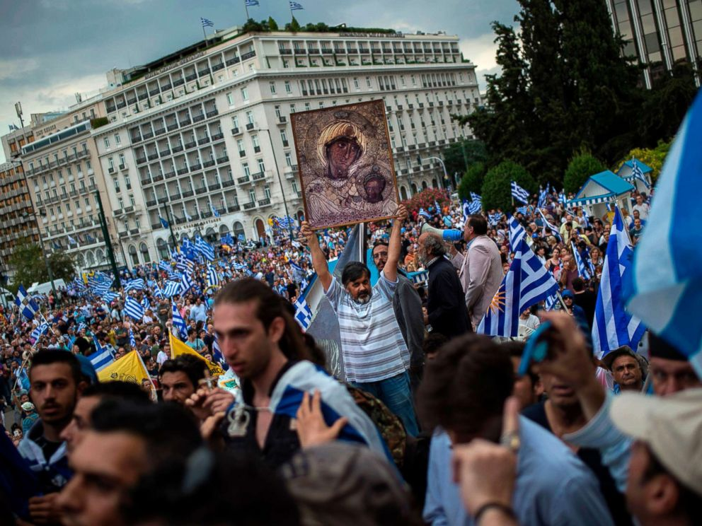 PHOTO: A man holds an icon during a demonstration on June 16, 2018 in Athens, Greece, against the agreement reached to resolve a 27-year name row with Macedonia.  Greece and Macedonia hope to end decades-long dispute over name greece macedonia name protest gty jt 180617 hpMain 4x3 992