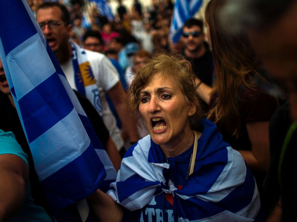 PHOTO: A woman shouts in a demonstration against the agreement reached to resolve a 27-year name row with Macedonia in Athens, Greece, June 16, 2018.  Greece and Macedonia hope to end decades-long dispute over name greece macedonia protest 2 gty jt 180617 hpMain 4x3 992
